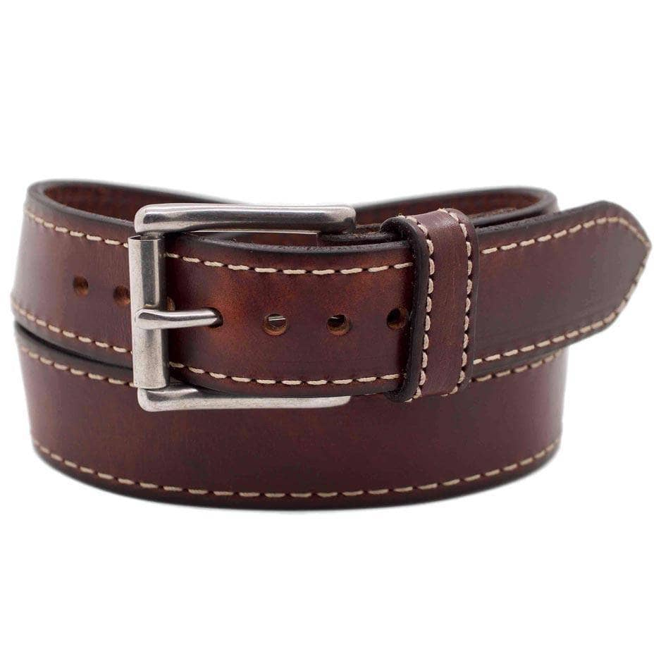 Front Side of Tribeca Mens Brown Leather Belt with Stainless Steel buckle