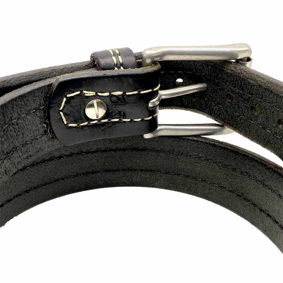 Closeup of Back Side of Troubadour Mens Black Leather Belt with Stainless Steel buckle