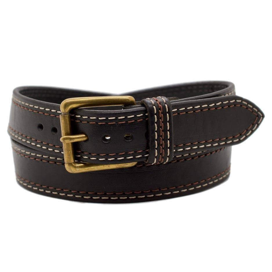 Front Side of Union Square Mens Black Leather Belt with Solid Brass buckle