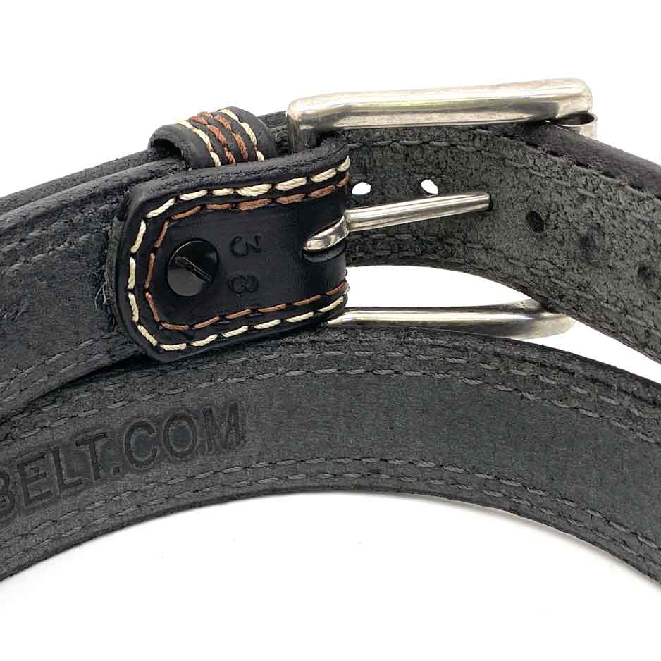 Closeup of Back Side of Union Square Mens Black Leather Belt with Stainless Steel buckle