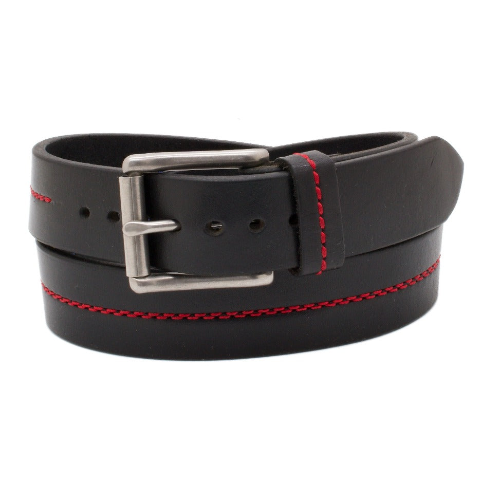 Front Side of Thin Red Line Firefighter Honor Leather Belt with Stainless Steel buckle