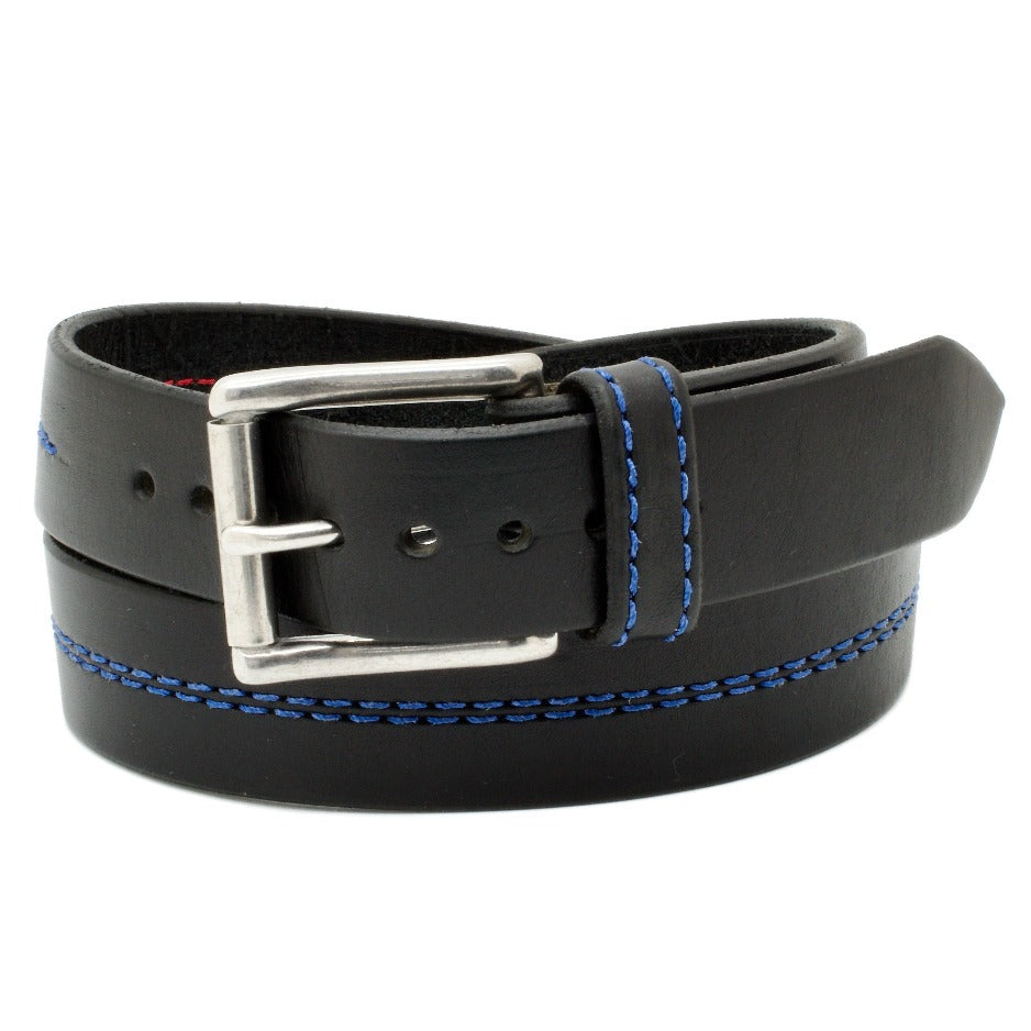 Front Side of Thin Blue Line Police Honor Leather Belt with Stainless Steel buckle