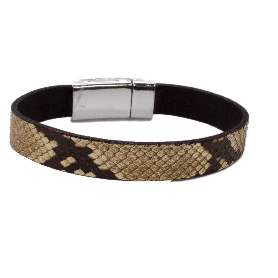 Front Side of Python and Leather Bracelet with Silver Electroplate Magnetic Clasp