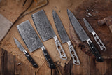 AUS-10 Damascus 7-Piece Knife Blank Set [Logo or No Logo] - KATSURA Cutlery