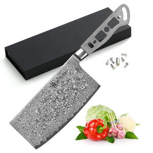 AUS-10 Damascus 6.5-in Chinese Cleaver Blank [Logo or No Logo] - KATSURA Cutlery