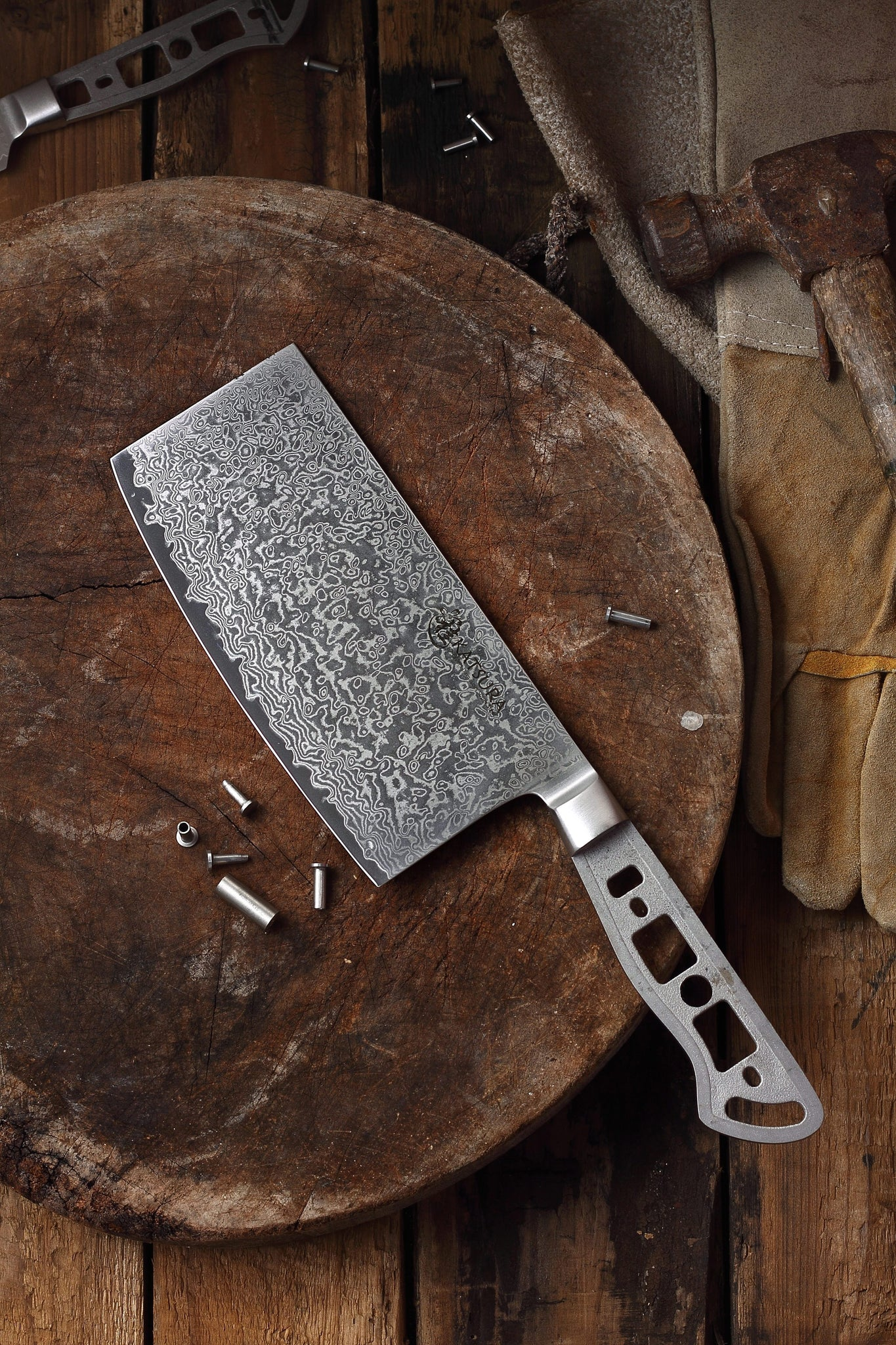 AUS-10 Damascus 6 5-in Chinese Cleaver Blank [Logo or No Logo