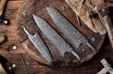 AUS-10 Damascus 8-in Gyuto Chef Knife Blank Blade, 50mm Wide Blade, Classic Ebony Wa Style Series [No Logo] - KATSURA Cutlery