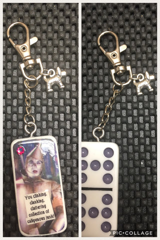 Tin Man Upcycled Domino Keychain