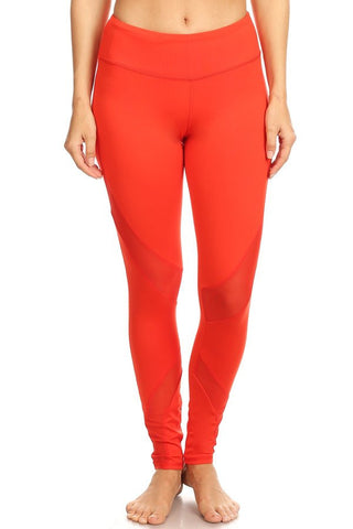 Red Cutout Mesh Panel Legging