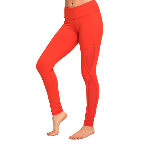 Coral legging with mesh insert