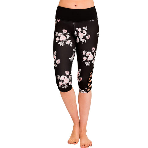 Floral Capri criss cross legging
