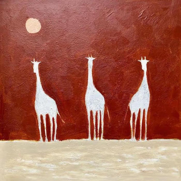 "GIRAFFES ON RED 48"" X 48"""