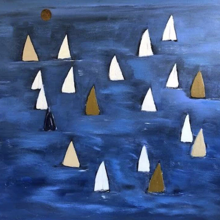 "SAILS ON BLUE SEA 48"" X 48"""
