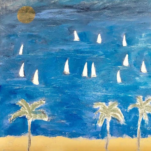 "PALMS, MOON, AND SAILS 48"" X 48"""