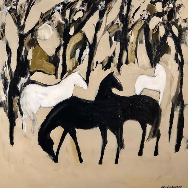 "Forest Horses 48"" x 48"""