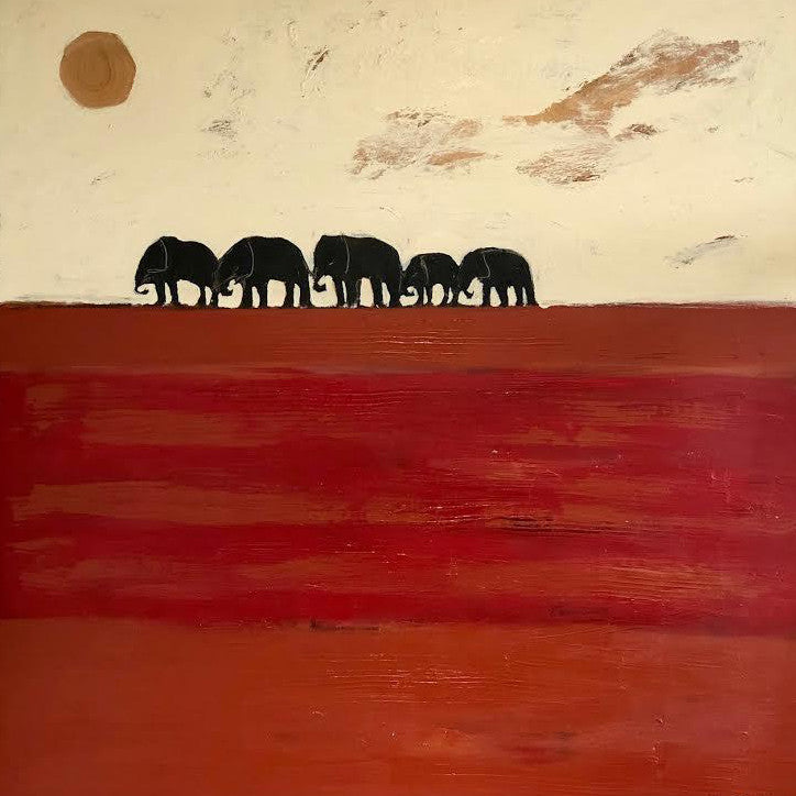 "THE ELEPHANTS 48"" X 48"""
