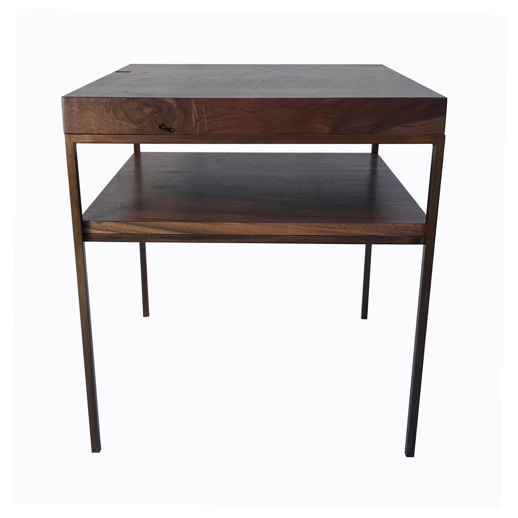 BLACK WALNUT SHELVED TABLE