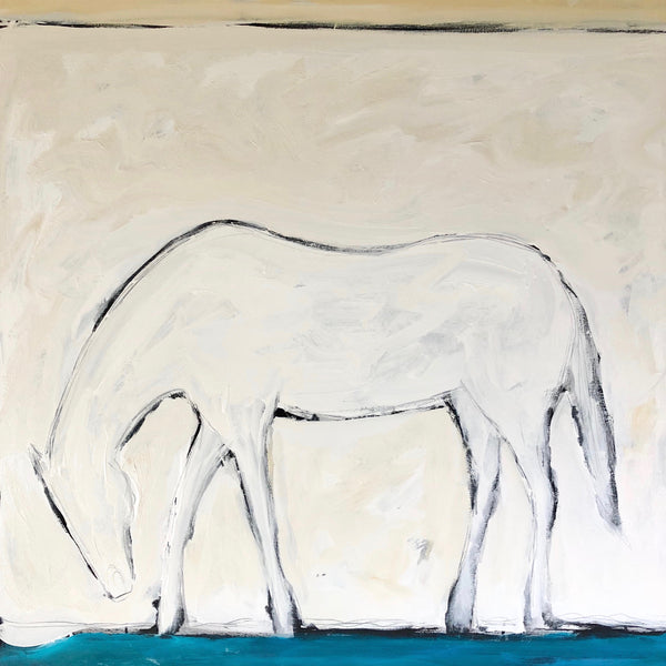 "WHITE HORSE BY THE SEA 48"" X 60"""