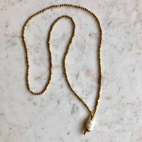 PUKA SHELL & BRASS BEAD NECKLACE