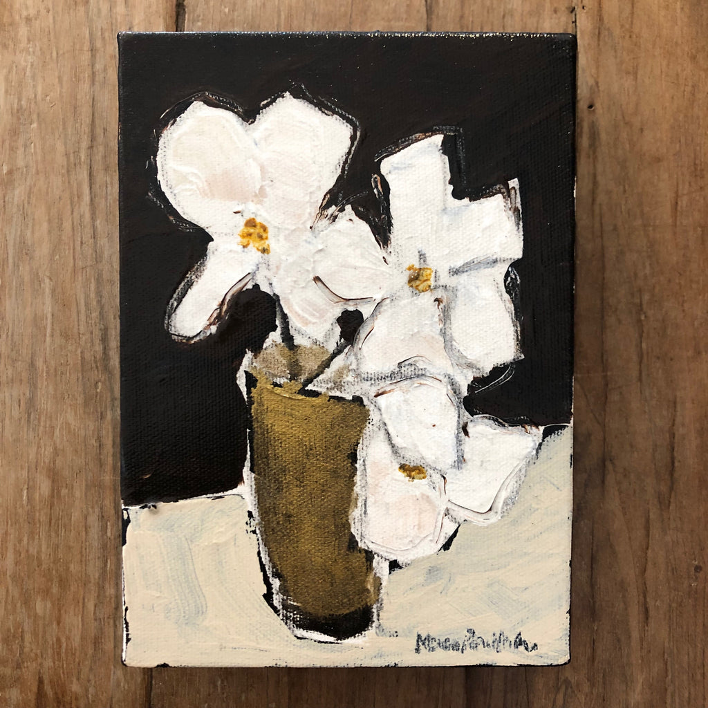 "WHITE FLOWERS 4"" x 6"""