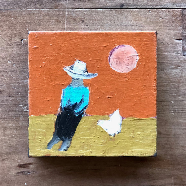 "BOY AND CHICKEN 6"" X 6"""