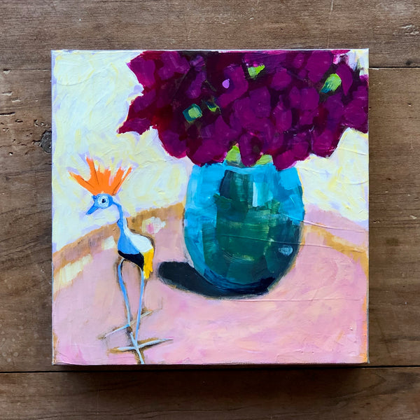 "DIANTHUS AND BIRD 10"" X 10"""