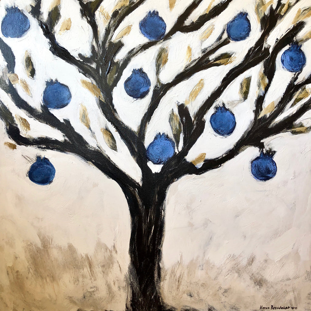 "BLUE POMEGRANATES 48"" X 48"""