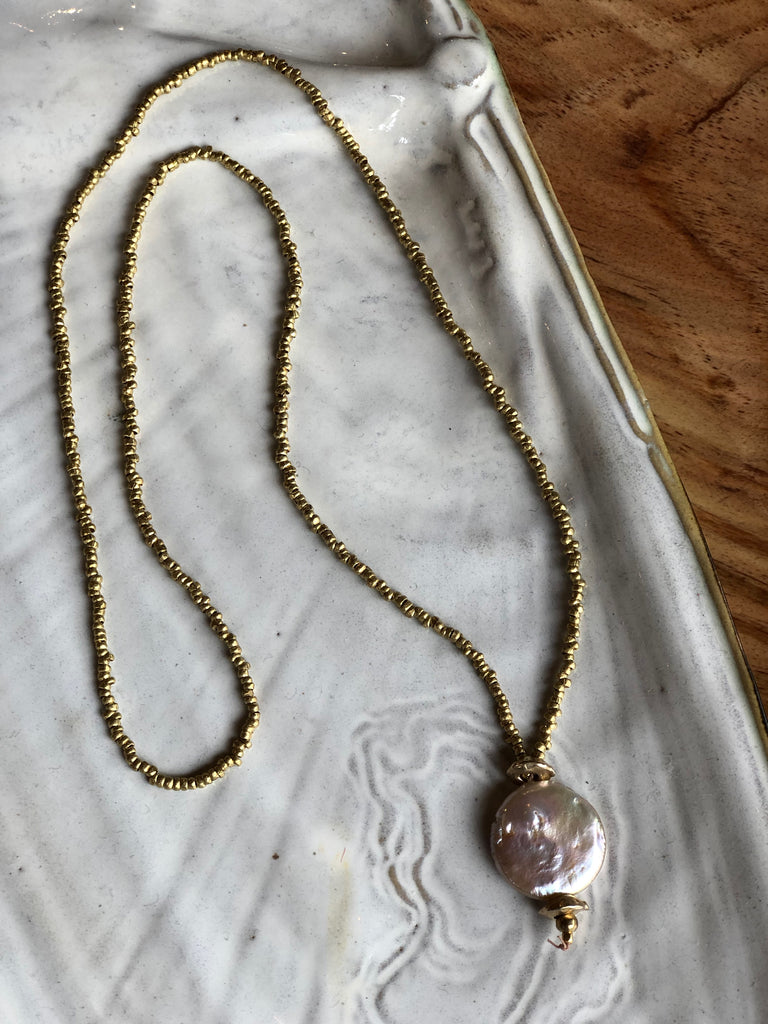 Coin Pearl and Brass Necklace