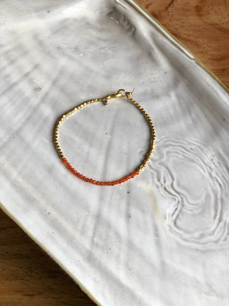 Carnelian and Brass Bracelet
