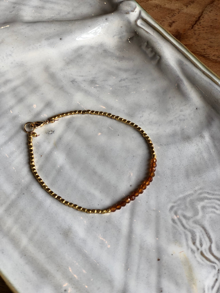 Garnet and Brass Bracelet