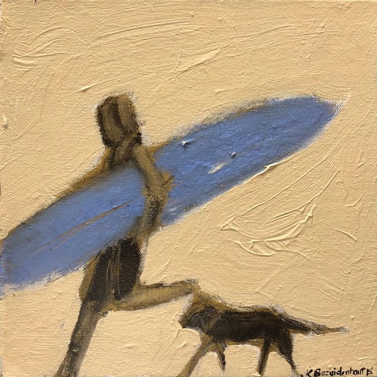"SURFER AND DOG 10"" X 10"""