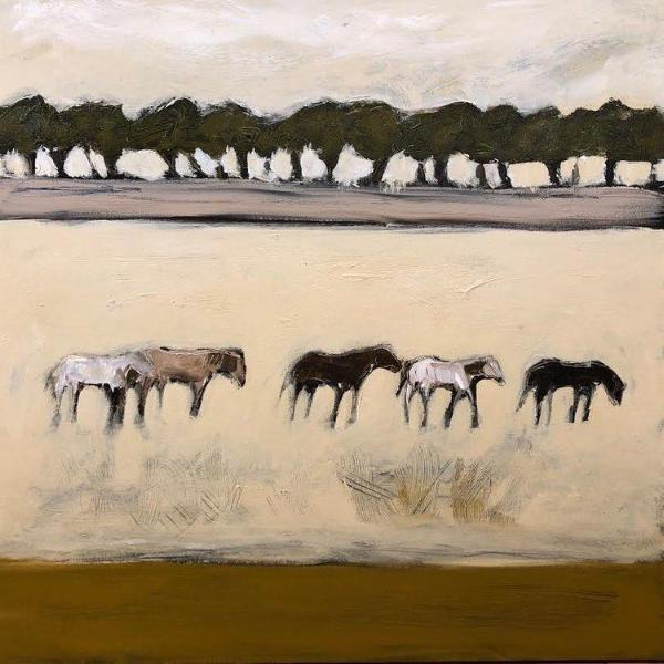 "COUNTRY HORSES 36"" x 36"""