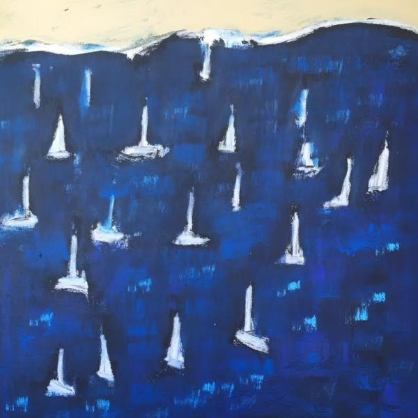 "BOATS ON BLUE 36"" X 36"""