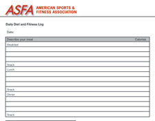 ASFA® Sample Diet/Fitness Summary