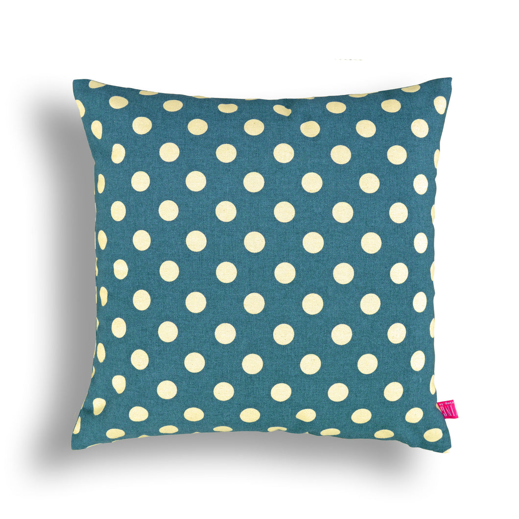 Blue Polka pillow, cotton, print in back & front, reversible cushion, VL276