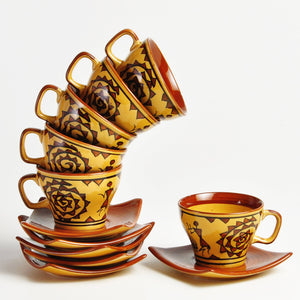 Warli Cup and Saucer - Set of 12pcs