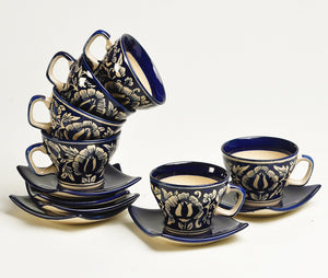 Mughal Noveau Cup and Saucer - 6 cups and 6 saucers