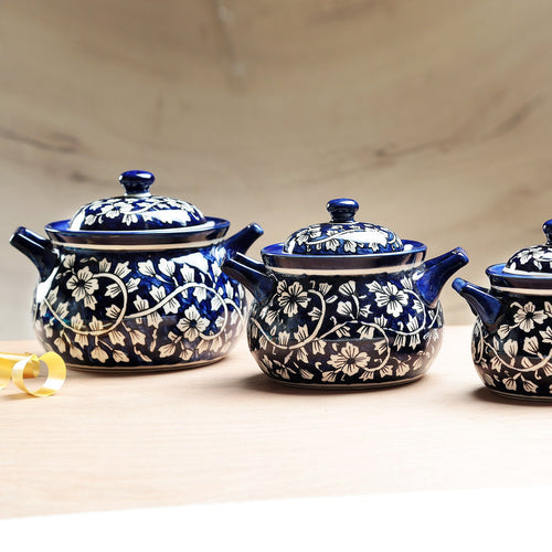 Mughal Hand painted Deep Serving Bowls with Lid- Set of 3