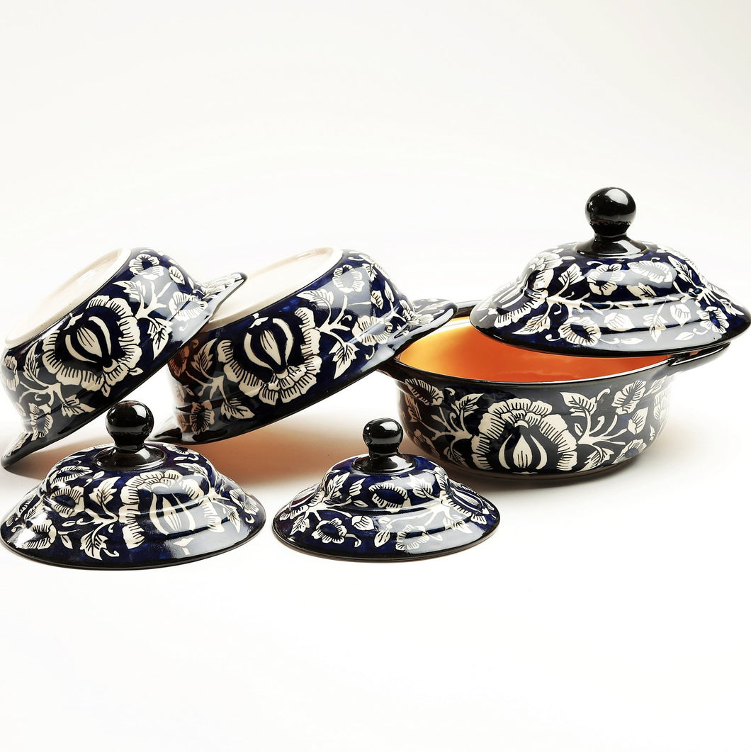 Mughal Hand painted Serving Bowls with Lids - set of 3