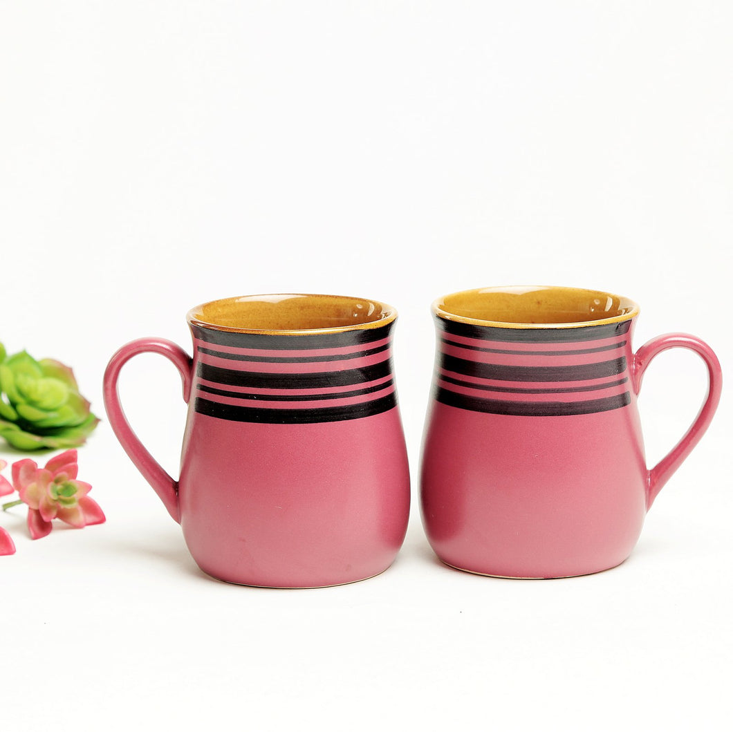 Purple and Golden Potbelly Milk Mugs -Set of 2