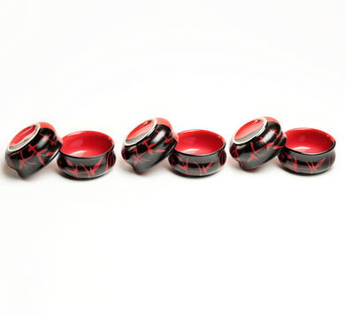 Red and Black Duet Dip Bowls -Set of 6