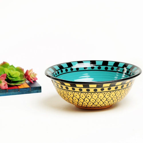 Amaia Hand painted Ceramic Snacks Bowl - Yellow and Blue - Large
