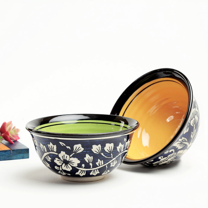 Hand painted Mughal Snacks Bowl - Yellow and Green - Set of 2