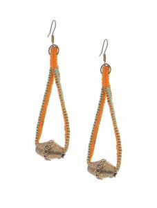 Miharu Dhokra Orange-Green Brass Drop Earring