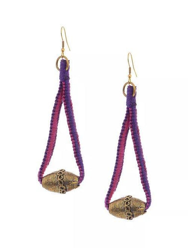 Miharu Dhokra Purple-Pink Brass Drop Earring