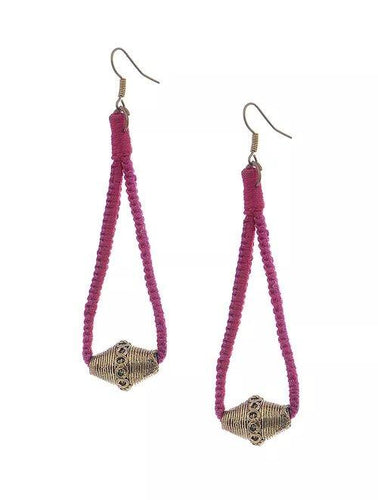 Miharu Dhokra Red-Pink Brass Drop Earring