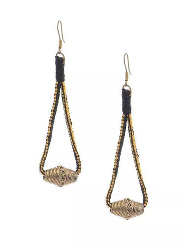 Miharu Dhokra Black-Yellow Brass Drop Earring
