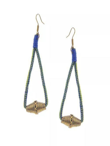 Miharu Dhokra Blue-Green Brass Drop Earring