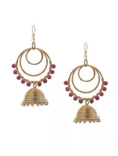 Miharu Dhokra Double Layer Red Bead Brass Earring