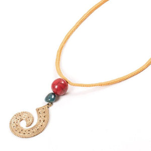 Miharu Dhokra Radial Brass Pendant With Yellow Color Thread Necklace